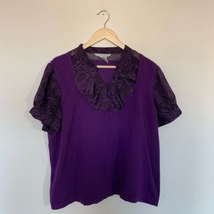 Fred David Woman 2X Knit Top Ruffle Sheer